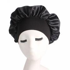 Women Satin Bonnet Cap Night Sleep Hair Protect Head Cover Wide Band Adjust Hats