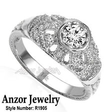Anniversary Russian Style Ring #R1905 14k Solid White Gold Genuine Diamond