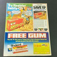 VTG Retro 1984 Keebler Co. Swirly-Q's Tender Cookies & Dentyne Gum Ad Coupon