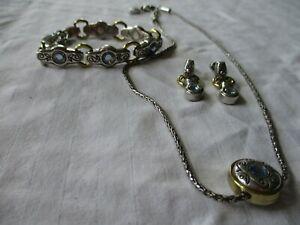 Brighton CELESTIAL BLUE Necklace Bracelet & Earrings Set Excellent!