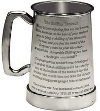More details for the kings shilling 1pt glass bottom pewter beer tankard engraved custom text