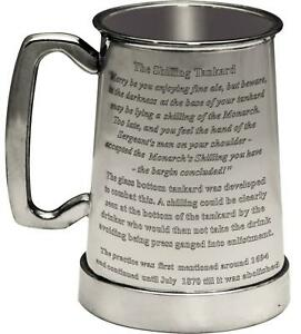 The Kings Shilling 1pt Glass Bottom Pewter Beer Tankard Engraved Custom Text