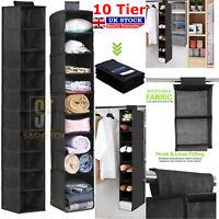 10 Tier Hanging Wardrobe Storage Garment Shoe Organiser Clothes Tidy Drawer UK