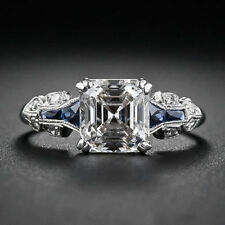Antique CZ White Asscher Cut Vintage Engagement Ring In 925 Sterling Silver