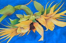 Art Original Watercolor Painting LONE COUNTRY SUNFLOWER by Karin Novak-Neal