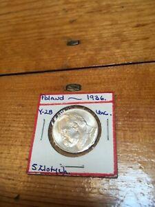 RARE POLAND 1936 - 5 ZLOTYCH UNC,  SCARCE SILVER COIN