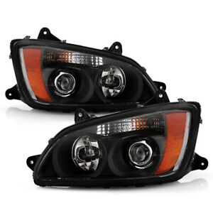 [PAIR SET]Black Housing Projector Headlights Lamps For 2008-2017 Kenworth T660