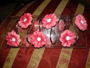 Set of 12 Shower Curtain Hooks Poppy Field Red Flower Bathroom Bath Home Decor