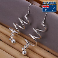 Classic Stunning 925 Sterling Silver Filled Spiral Dangle Earrings Gift