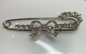 Silver And Crystal Stone Safety Pin Style Brooch
