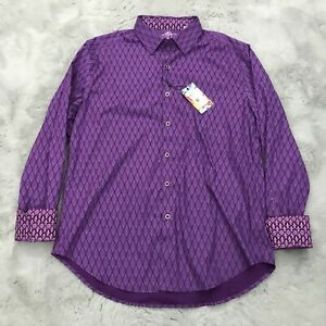New Robert Graham Becker LS Button Down Flip Cuff Shirt Mens Large Purple