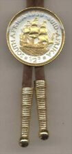 So. African Penny Sailing Ship Gold On Silver Bolo Tie 114BW-BT