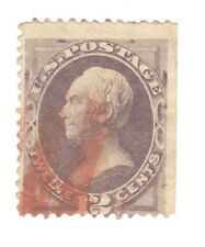 Scott 151 Early US Stamp 12c Clay...1870-71...Red Cancel