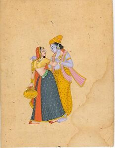 Radha Krishna Miniature Hindu Painting Handmade Decor Wall Hanging Ethnic Indian