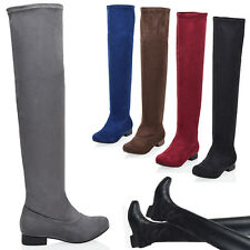 LADIES WOMENS KNEE THIGH HIGH OVER THE KNEE FLAT LOW HEEL STRETCH BOOTS SIZE