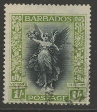 Barbados 1920 Victory 1/- black & bright green sg29 used