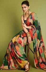 Georgette Saree Indian Designer Sequence Lace Casual Party Pakistani Sari Blouse