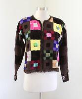 Berek Brown Color Block Fringe Sequin Zip Front Cardigan Sweater Sz S Geometric