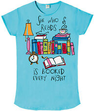 She Who Reads is Booked Every Night Nightshirt Cotton Blue
