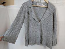 Sara Bentley Woman's cardigan style sweater Grey/white sparkly 3/4 sleeve Size M