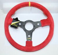 """SPORT STEERING WHEEL 350mm 13.8"""" RED SUEDE LUISI RACING CORSA MADE IN ITALY"""