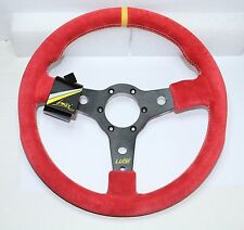 "SPORT STEERING WHEEL 350mm 13.8"" RED SUEDE LUISI RACING CORSA BRAND NEW"