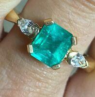 Fine 18k Gold 2.42ctw Glowing 2.02ct Columbian Emerald .4ct Diamond Ring 5.8g