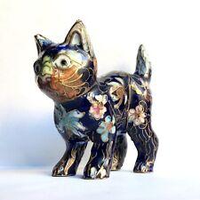 Chat en émaux cloisonnés, chine vers 1960.