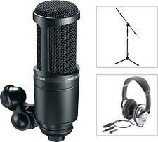 Audio Technica AT 2020 Studio Kondensator Mikrofon SET mit Kopfhörer + Stativ