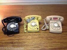 3 Vintage Black,Beige,Yellow-Red Light Stromberg-Carlson Desk Dial Telephones
