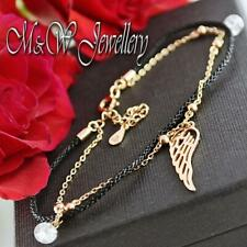 925 Silver Rose Gold Plated Chain Bracelet with Black Cord - WING and Zirconia