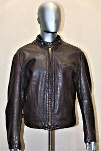 RARE Blouson Café Racer SCHOTT 141 cuir marron Vintage 70's 48US XL EUR