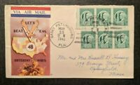 1943 Lets Beat Em St Petersburg FL MA Air Mail WWII Illustrated Patriotic Cover