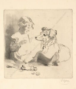 """Favourite Dog"", by Ferdinand Karl Gold (b.1882), Etching, ca.1910"