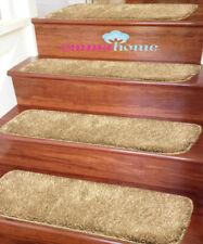 Shaggy Glittter NON-SLIP MACHINE WASHABLE Stair Treads Mat/Rug,Beige22x67cm,15pc