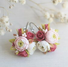 Flower wedding EARRINGS HANDCRAFTED Fashion polymer clay Dangle peony HANDMADE