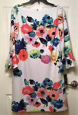 Tahari Arthur S Levine Petite Size 14P White Floral Dress  Bell Sleeves NWT $128