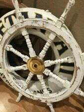 36'' Hand Painted Wooden Ship Wheel Distressed White Nautical beach home Decor