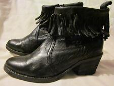 $360 AllSaints BONNY CUBAN Fringe Ankle Boots Booties Western Black Leather 38