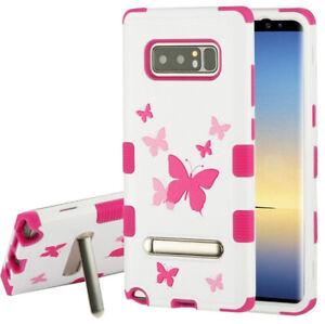 Samsung Galaxy Note 8 - PINK BUTTERFLIES Kickstand Hybrid Armor Shockproof Case