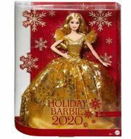 2020 Holiday Barbie Doll Blonde Hair Gold Christmas Dress Mattel Signature NRFB