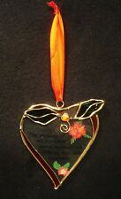 """Stained Glass Heart Shaped """"Friendship"""" Sun Catcher w/Holly Leaves And Berries"""