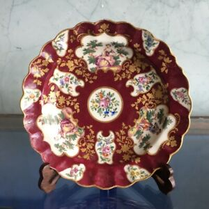 'James Giles' style claret ground Worcester plate, Watteau panels, c. 1770 & ...