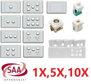 10 A Amp 240V Double Power Point Wall Socket outlet GPO light switch Plate USB