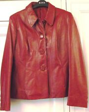 Hobbs -  Marilyn Anselm - Red Leather Jacket / Coat - Size 12