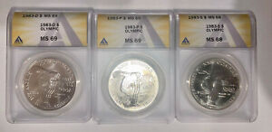 1983 P D S - 3 Coins - US Olympic Commemorative Silver Dollars ANACS MS 69 MS 68