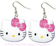 Huge Funky HELLO KITTY EARRINGS Fun Cat Face Feline Animal Charm Costume Jewelry
