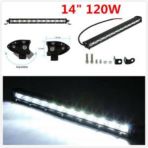 "Car Adjustable 120W 14"" Spot Beam Single Row LED Work Lamp Bar Driving Fog Light"