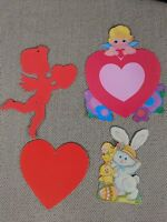 Vintage Set of 4 Valentine Easter Heart Cupid Bunny Diecut Cutout Decorations