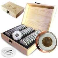 Hölzerne Münzen Zeigen Aufbewahrungsbox Für Sammelmünze Mit 30 Kapseln An Neu